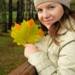 Woman in autumn — Stock Photo