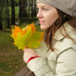 Stock Photo: Woman in park with autumn leaves