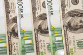 100 euro an dollar banknotes — Stock Photo