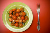 Salad with tomatoes on the plate — Stok fotoğraf