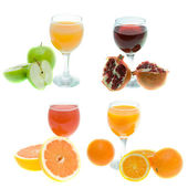 Different juice and fruits — Stock Photo