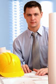 Young architect in office — Stock Photo