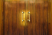 Door handle on the wooden doors — Stok fotoğraf