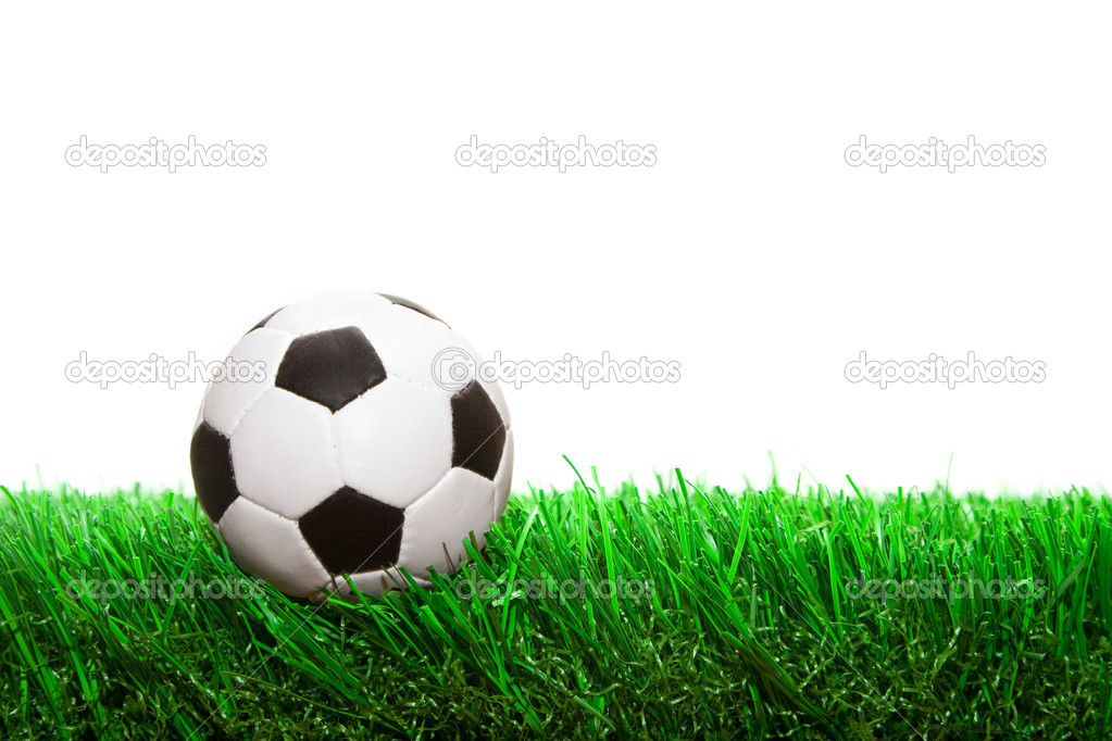 Small soccer ball on the grass isolated on white background — Stock Photo #1303998