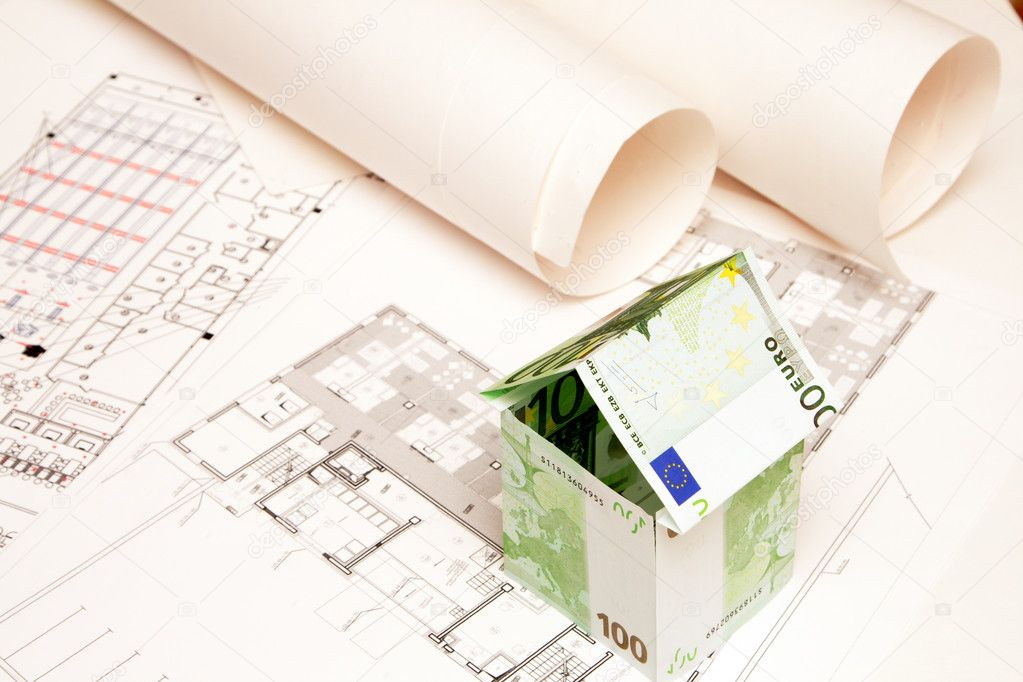 House made of money on the blueprint — Stock Photo #1304553