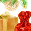 Red sack with the christmas gifts — Stock Photo