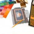 Foto Stock: Samples of color in design studio