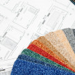 Stok fotoğraf: Blueprint and color swatch