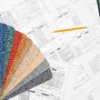 Blueprint and colorful samples — Stock Photo