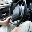 Foto Stock: Driver holding steering wheel