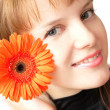 Woman and flower — Stock Photo