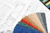 Blueprint och färg swatch — Stockfoto