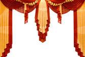 Vermelho com cortina de palco de ouro — Foto Stock