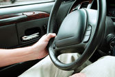 Driver holding steering wheel — Stockfoto