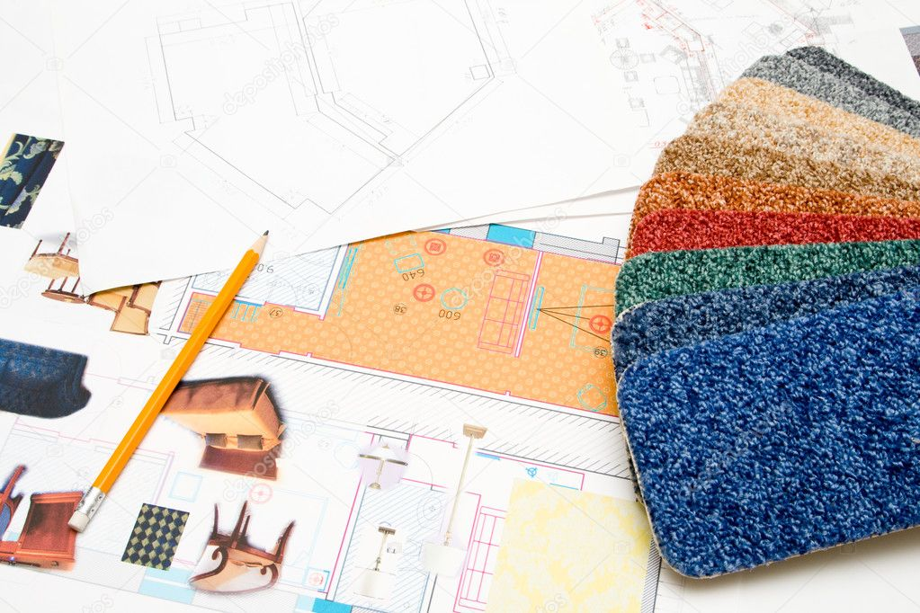 Design blueprints and carpet samples on the table — Stock Photo #1401061