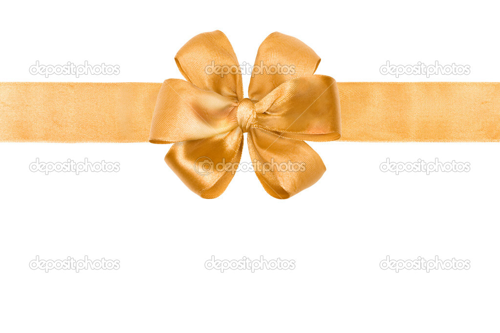 Gold silk ribbon and bow on white — Stock Photo #1401269