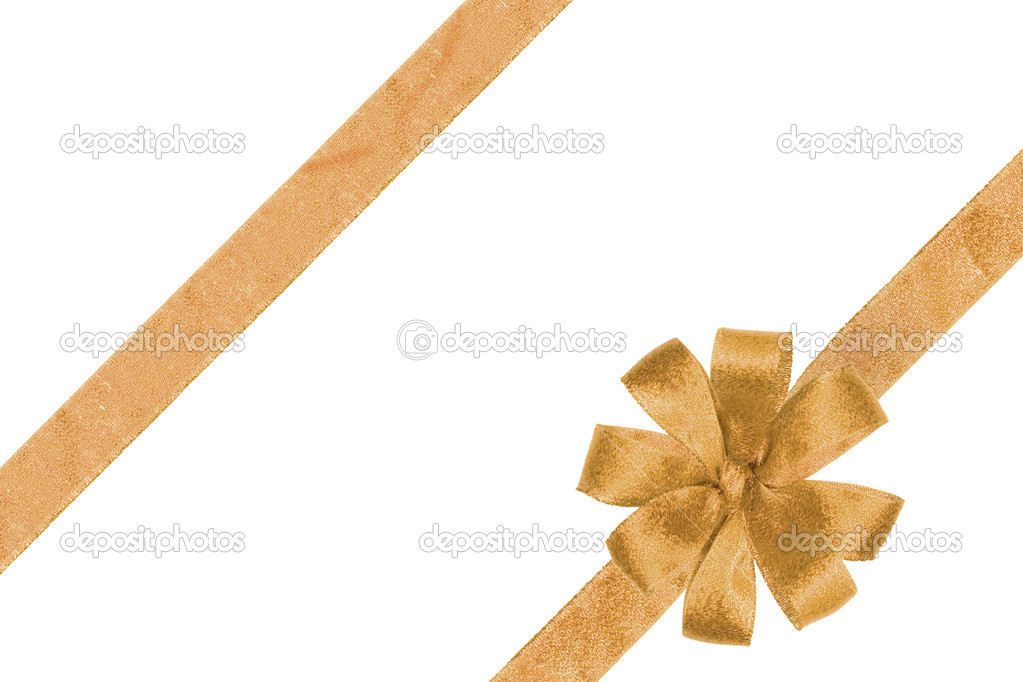 Gold ribbon and beauty bow on white — Stock Photo #1401292
