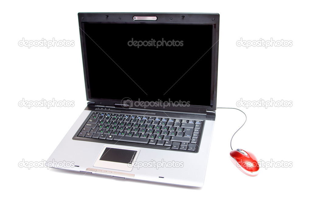 Silver notebook with computer mouse on white — Stock Photo #1401439