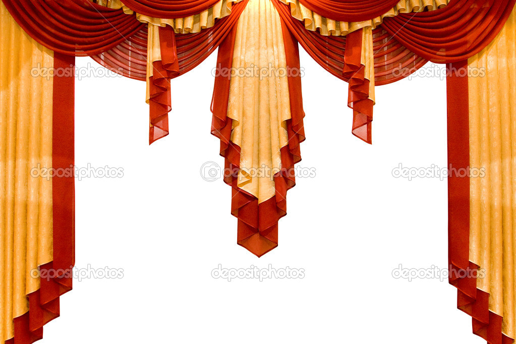 Red with gold stage curtain isolated on white — Stock Photo #1401447