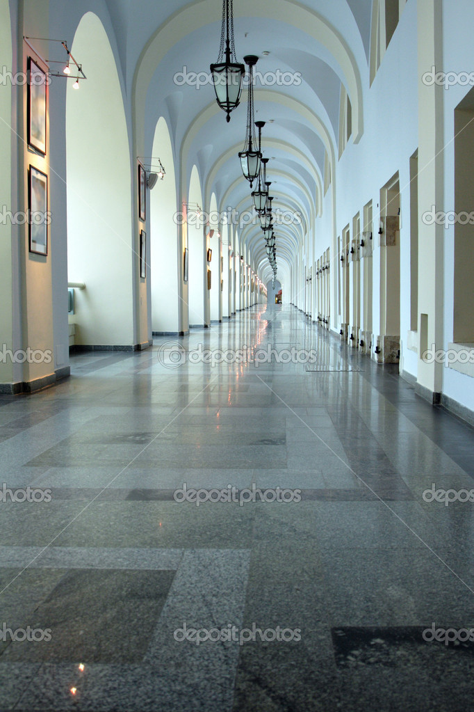 Antique corridor in classic style using as art gallery — Stock Photo #1401781
