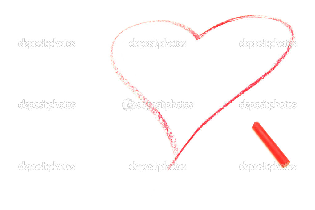 Pastel crayon draw of red heart over white — Stock Photo #1401937