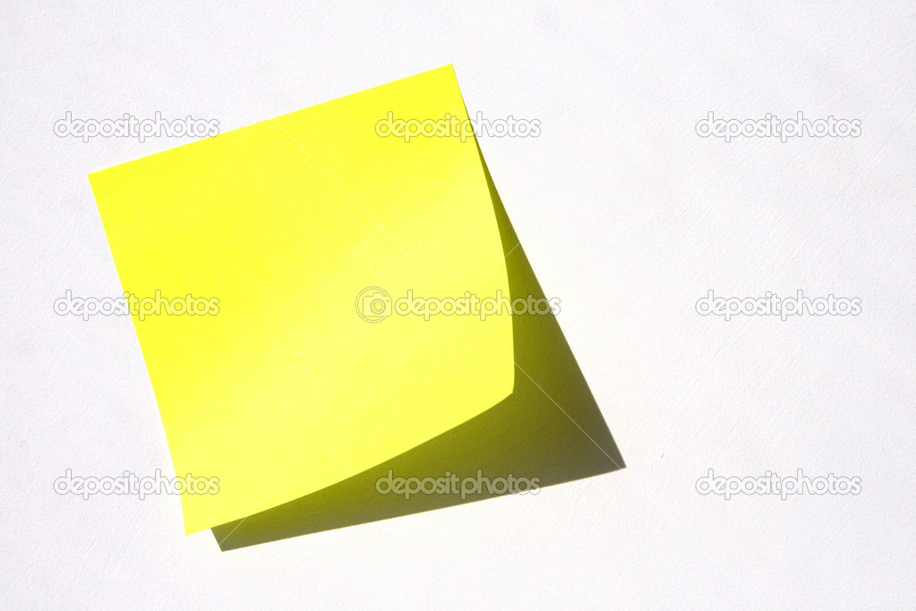 Yellow sticky note on the grey wall — Stock Photo #1402689