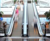 Escalator with motion blur — Stock Photo