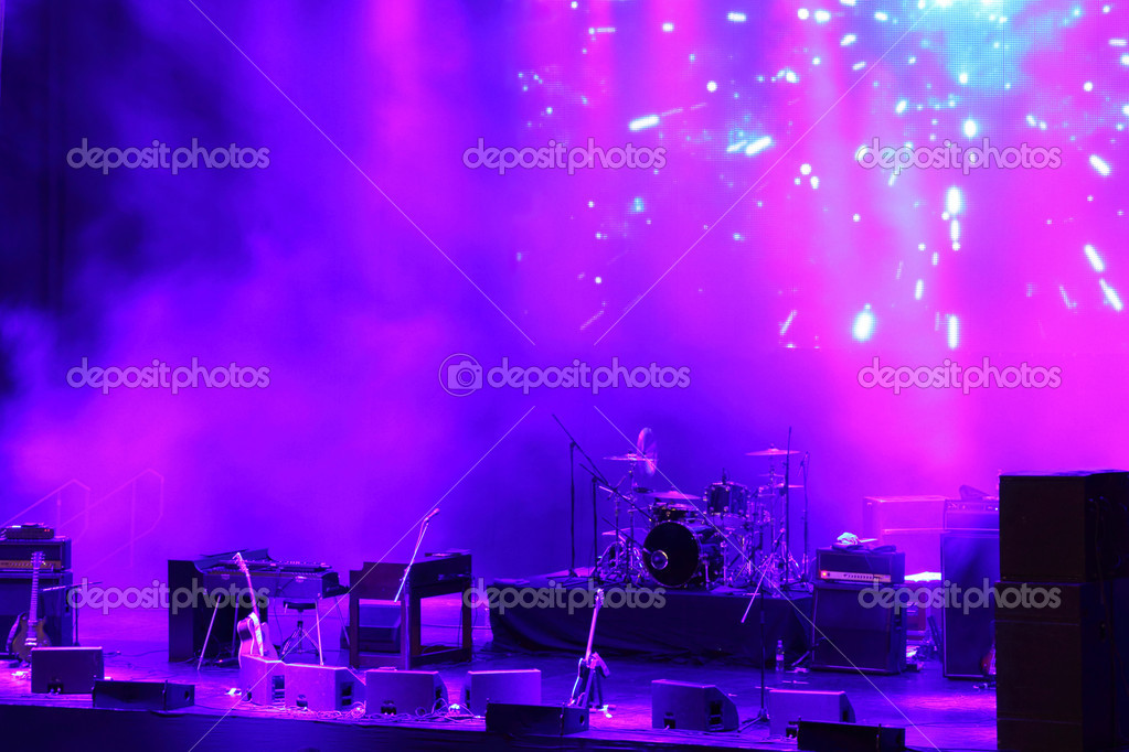 Empty concert stage in red-blue light with smoke  Stock Photo #2109840