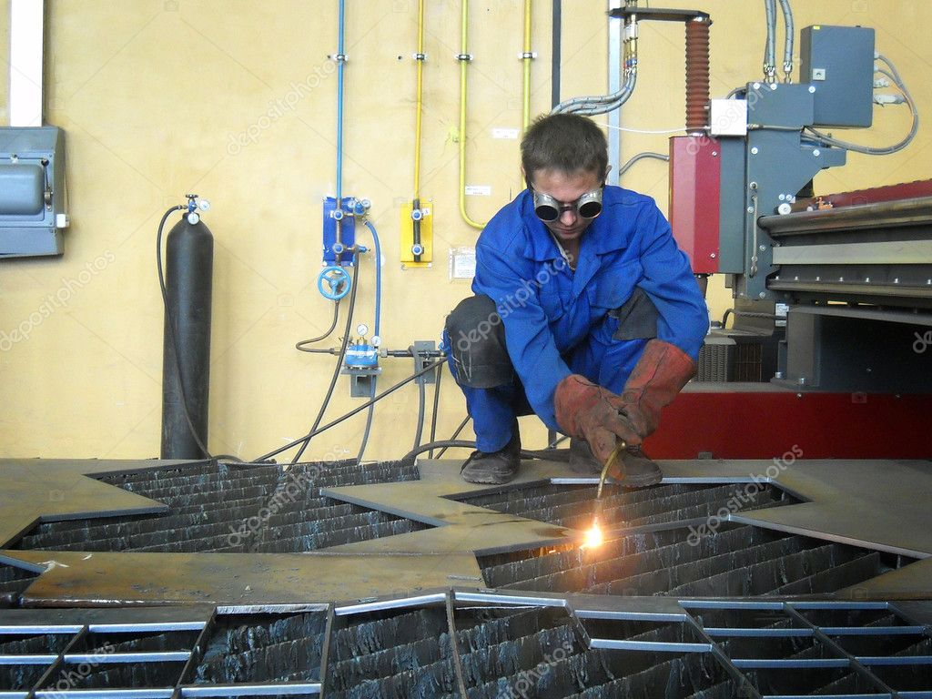 Welder with arc — Stock Photo #2110609