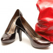 Women shoes  and red handbag - Stok fotoğraf