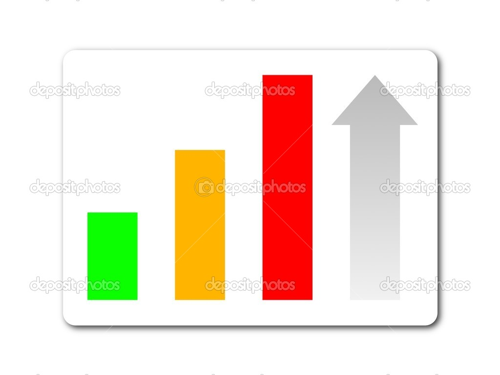 Green yellow red statistic button on white background — Stock Photo #1296950