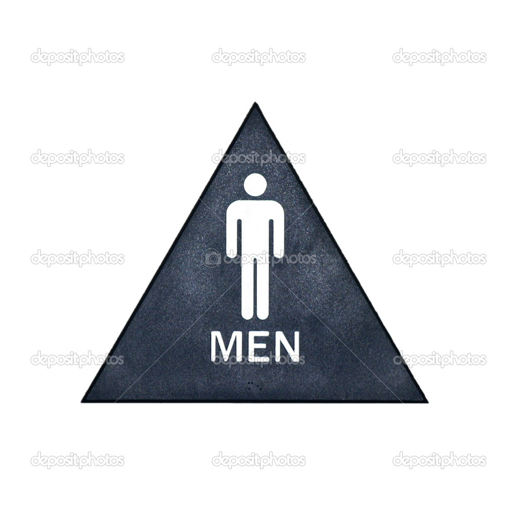 A blue, white, and gray restroom sign for men — Stock Photo #1374424