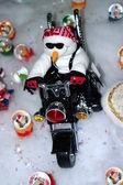 Motorcycle Snowman — Stock Photo