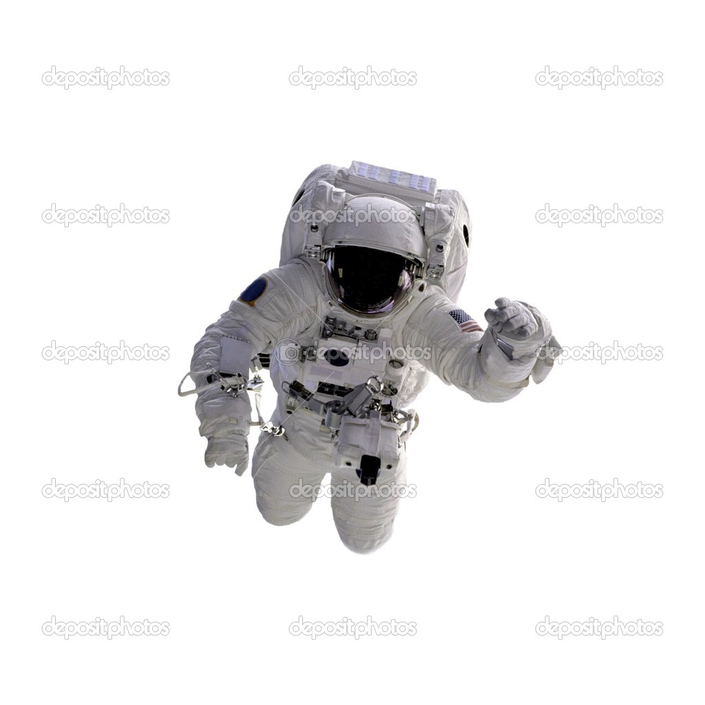 Flying astronaut on a white background.Some components of this image are provided courtesy of NASA, and have been found at nasaimages.org — Foto de Stock   #1760016