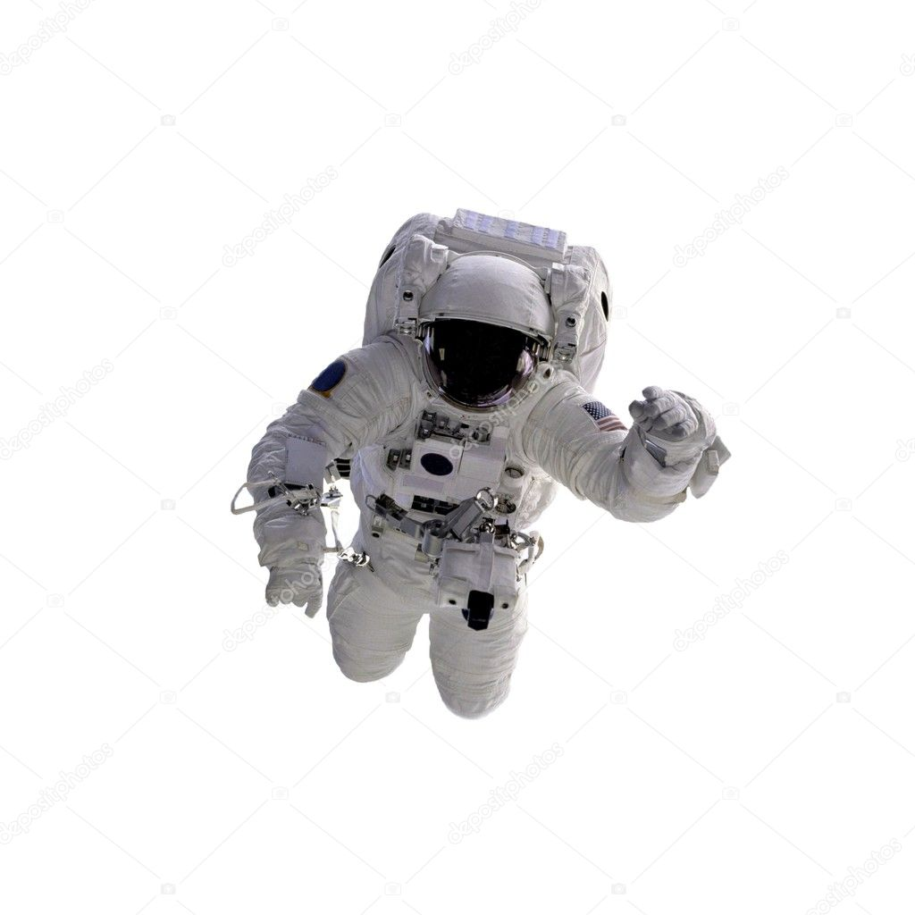 Flying astronaut on a white background.Some components of this image are provided courtesy of NASA, and have been found at nasaimages.org  Foto de Stock   #1760016