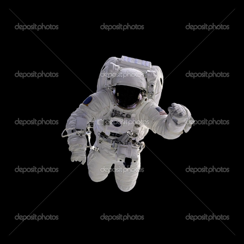 Flying astronaut on a black background.Some components of this image are provided courtesy of NASA, and have been found at nasaimages.org  Stock Photo #1760021