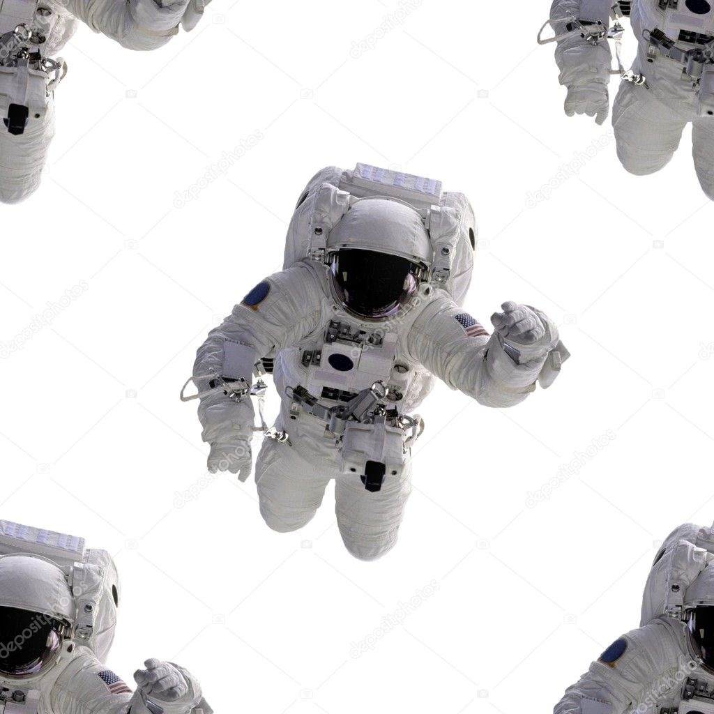 Seamless white background with an flying astronautSome components of this image are provided courtesy of NASA, and have been found at nasaimages.org — Stock Photo #1921330