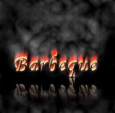 Barbeque Text On Fire — Stock Photo