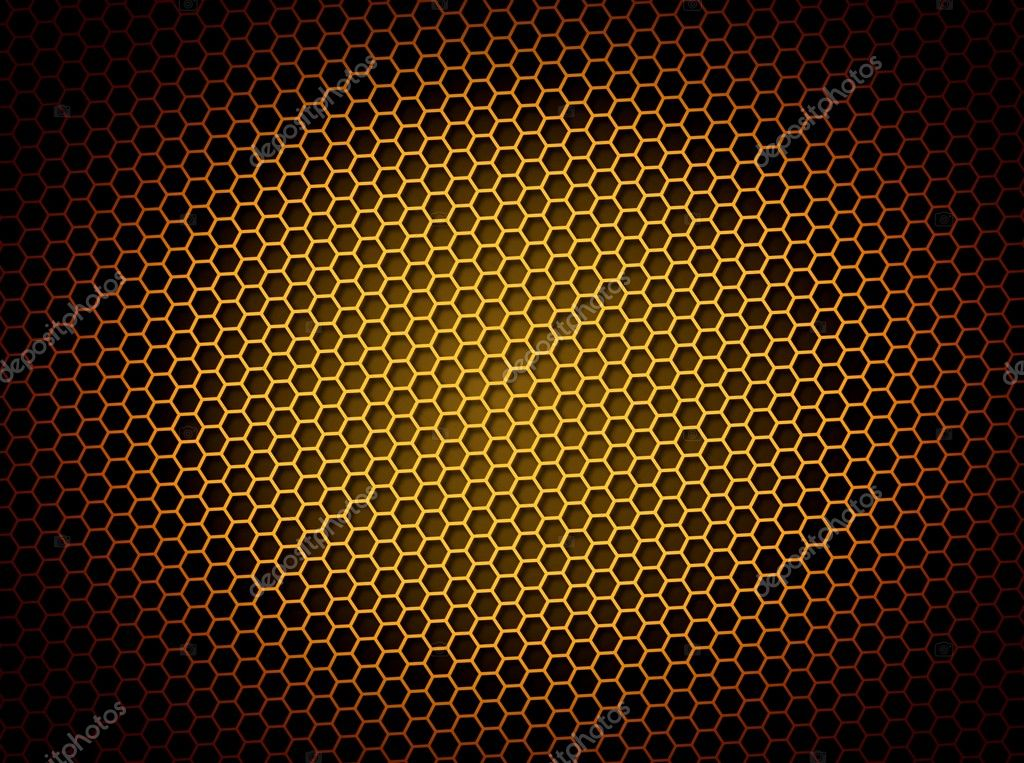 Golden honeycomb background 3d illustration or backdrop with light effect  Stock Photo #1970083