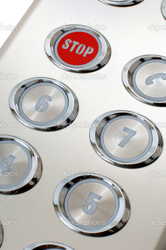 Metal red stop button in the elevator — Stock Photo #1492346