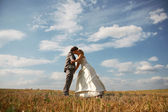Timid embrace Honeymoon — Stock Photo