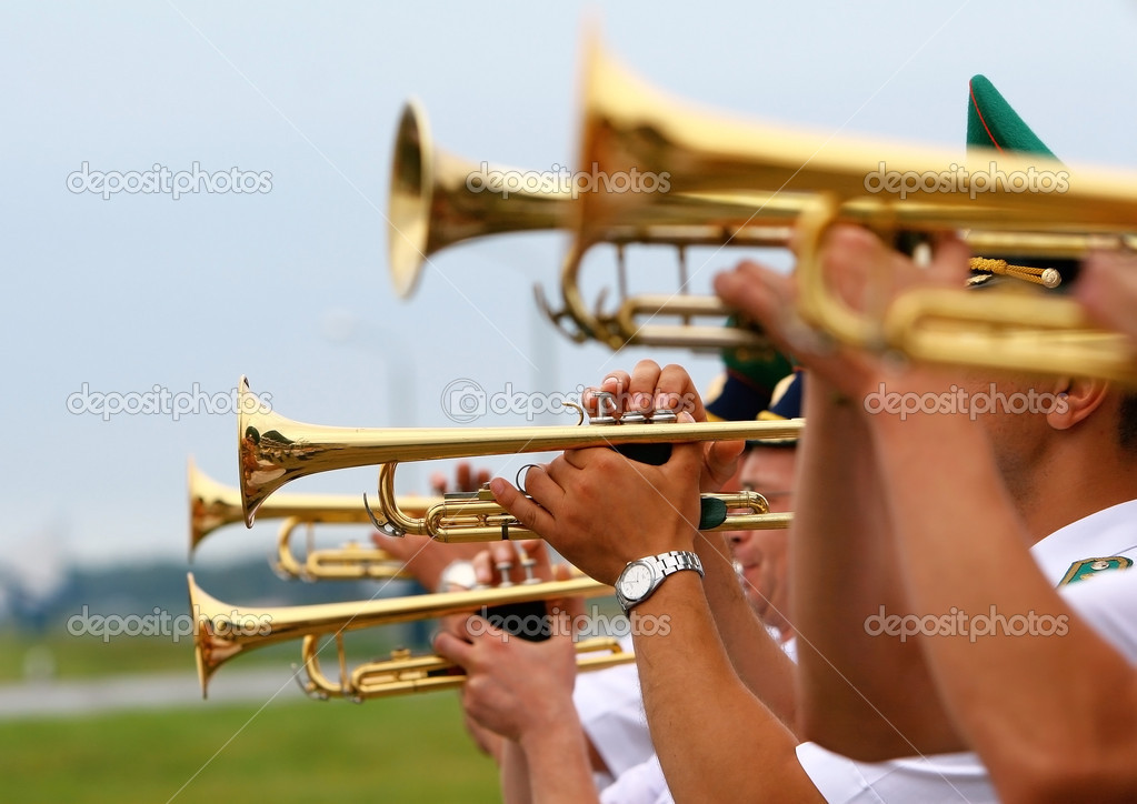 Group of playing the trombone. — Stock Photo #1442900