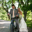 Newlyweds on a bicycle. — Stock Photo #1948216
