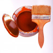 Stock Photo: Bucket of paint and brush