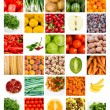 Collage of fresh fruits and vegetables - Foto de Stock  