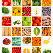 Collage of fresh fruits and vegetables - Stok fotoğraf