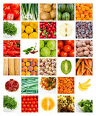 Collage of fresh fruits and vegetables — Stok fotoğraf