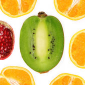 Collage of fruit cut in half — Stock Photo
