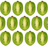 Collage of cut-kiwi on white background — Stock Photo