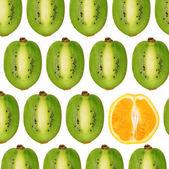 Collage of cut-orange and kiwi — Stock Photo